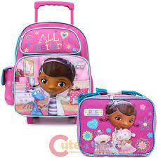 doc mcstuffins 4 piece luggage trolley bag backpack purse draw