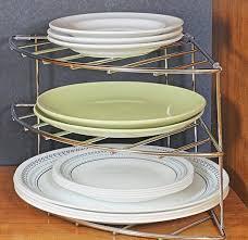 Kitchen Cabinet Plate Organizers Amazon Com Decobros 3 Tier Corner Shelf Organizer Chrome