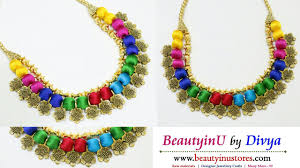 multi color necklace images Making of multicolor silk thread necklace using antique flowers jpg