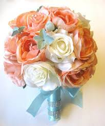 free shipping 17 pcs wedding silk flower bouquet bridal package