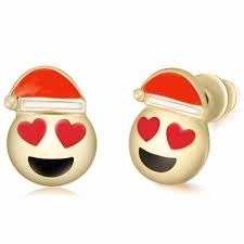christmas earrings christmas earrings emoji smile laugh cry big hat