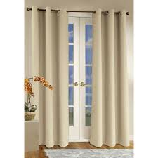 ivory thick linen grommet top insulated curtains for white sliding doors that hanging on brass metal rod over hardwood flooring