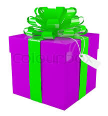 green gift bow big purple gift box with a big green bow white background stock