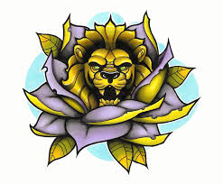 yellow flower tattoos lion and rose tattoo design by funkt green tattoos pinterest