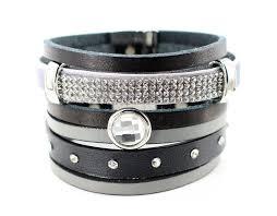 rhinestone leather wrap bracelet images Black grey leather wrap bracelet boho cuff bracelet beautiz jpg