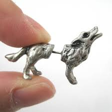 cool stud earrings 3d realistic wolf dog animal stud earrings in silver