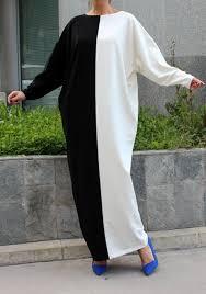 white and black patchwork long sleeve abaya oversize casual maxi