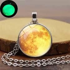 art glass necklace images Xushui xj galaxy planet yellow moon glowing necklace art glass jpg