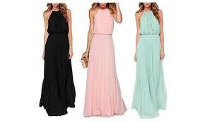 chiffon maxi dress women s halter pleated sleeveless chiffon maxi dress groupon