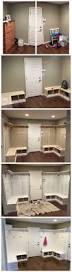 mud room batten board bench corner white cubbies dyi fixer