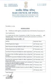 notification rescheduled date for aibe vi the bar council of india