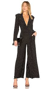norma kamali jumpsuit norma kamali tuxedo v neck pinstripe jumpsuit black pinstripe