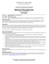 medical receptionist sample resume job position in a front dest