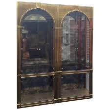 Antique Brass Display Cabinet Mastercraft Brass Vitrines Vintage Palladian Antique Mirror Glass