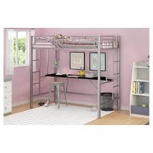Metal Frame Loft Bed With Desk Twin Metal Kids Loft Bed With Desk Twin Silver Dorel Home