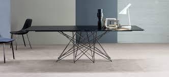 tavoli design cristallo octa tavolo fisso o allungabile gambe in metallo bonaldo