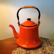 vintage orange enamelware teapot kettle with bamboo handle made in