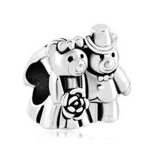silver plated love bouquet teddy care bear charm bracelet couples