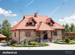 single family house brick red roof stock photo 58949032 shutterstock