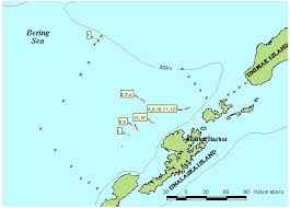 map of aleutian islands eastern bering sea mesopelagic survey