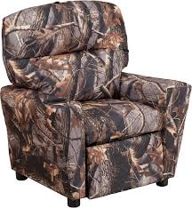 contemporary camouflaged fabric kids recliner with cup holder bt