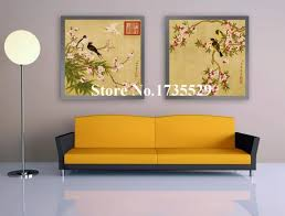 2 panel vintage art peach blossom flowers bloom painting printed