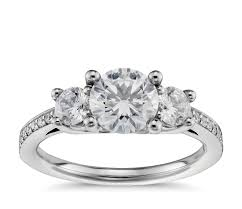 three pavé diamond engagement ring in platinum 2 3 ct tw