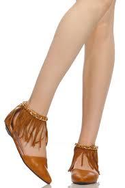 camel faux leather pointed toe fringe flats cicihot heel shoes