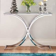 Glass Console Table Glass And Chrome Console Table Foter