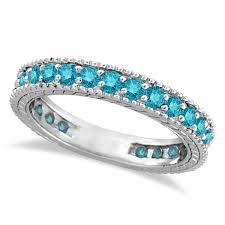 white gold eternity ring blue diamond eternity ring with milgrain edges 14k white gold 1 00ct