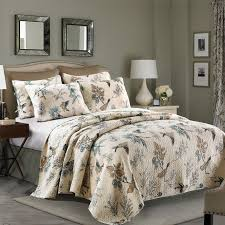 Bedding Quilt Sets Chausub Washed Cotton Quilt Set 3pcs Birds Printed Quilts Quilted