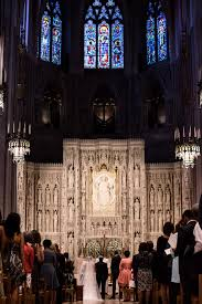 the silk pnina tornai gown at this national cathedral wedding is