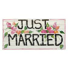 floral painted white just married wooden sign we love weddings