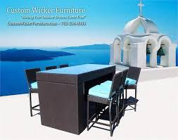 Patio Furniture Bar Set Patio Furniture Viro Outdoor Wicker Acrylic Cushions 7 Pc