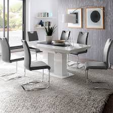 Grey Dining Table Chairs Genisimo High Gloss Dining Table With 6 Grey Koln Chairs Dining