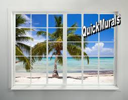 panoramic wall murals palm beach window peel and stick 1 piece wall mural