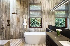 dark wood tile bathroom glass border grey color concrete wall