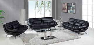 Modern Sofa And Loveseat A176 Sofa Loveseat In Black Leather By Global