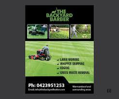 bold modern flyer design for the backyard barber by esolbiz