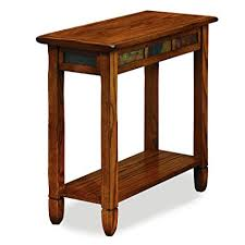 hardwood 10 inch chairside end table amazon com leick 10060 rustic oak chairside end table kitchen dining