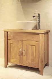 Oak Bathroom Cabinet Solid European Oak Single Size Wash Stand With 2 Doors Shown With