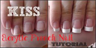 glue on nail tutorial salon acrylic french nails youtube