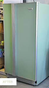 krylon pistachio spray painted fridge diy
