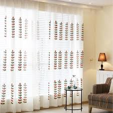 white leaf nice embroidered summer sheer curtains