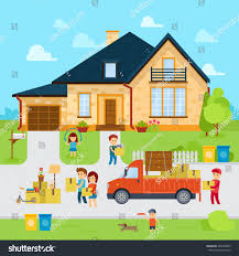 House Flat Design by People Moving New Home Flat Designmoved Stock Vector 407930965
