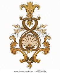 rococo golden ornament element vector stock vector 306034664