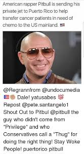 american rapper pitbull is sending his private jet to puerto rico to
