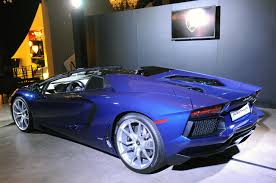 Blue Lamborghini Aventador - lamborghini aventador roadster at los angeles auto show 2012 02