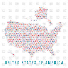 Us Map Outline Usa Map With Alaska Made Of Motley Square Pixels Vector Image