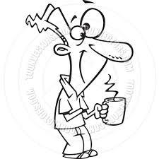 cartoon man holding steaming coffee mug black and white line art